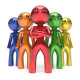 Leadership teamwork characters men crowd businessmen. Leadership teamwork characters men crowd businessman commander team individuality five cartoon persons icon Royalty Free Stock Photo