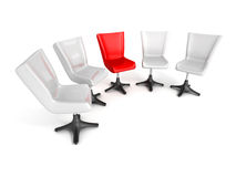 Leadership teamwork concept with office chairs Stock Images
