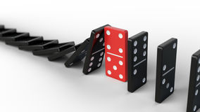 Leadership and teamwork concept - Red domino stops falling other dominoes Stock Images
