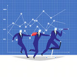 Leadership, teamwork concept vector illustration in flat style. Vector illustration of businessman and his team. Leader looking through spyglass. Business vision Royalty Free Stock Photos