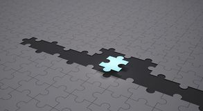 Leadership and teamwork conceptual background, Blue jigsaw. Puzzle pieces with one piece glowing, 3d illustration Stock Photo