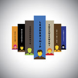 Leadership, teamwork, initiative & competence - concept vector Royalty Free Stock Photos