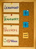 Leadership, teamwork and passion. Post it notes on a wooden board representing three ingredients for happiness at work Royalty Free Stock Image