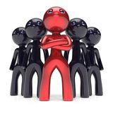 Leadership teamwork stylized red character black men crowd. Businessman team leader individuality five cartoon persons social relationship friends concept. 3d Royalty Free Stock Images