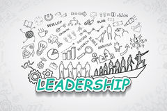 Leadership text, With creative drawing charts and graphs business success strategy plan idea, Inspiration concept modern design te. Mplate workflow layout Royalty Free Stock Photo