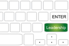 Leadership. Text 'enter and leadership' on two adjacent keys of a computer keyboard with up and down and left and right arrows. Concept of searching for the best stock photo