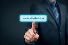 Leadership training. Concept - manager click on button to purchase Stock Photography
