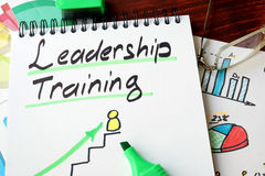 Leadership training. Written in a notepad with marker royalty free stock images