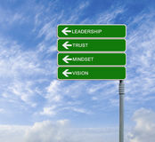 Leadership and trust. Road sign with  word leadership and trust Stock Images