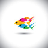 Leadership vector concept - colorful team of fishes united vector illustration