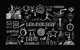 Leadership vector set. Leadership. Set of Business Icons. Vector hand drawn  objects. Sketch style Stock Image
