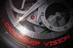 Leadership Vision on Automatic Watch Mechanism. 3D. Leadership Vision - Inscription on the Elegant Wristwatch with Visible Mechanism, Clockwork Up Close. Luxury Royalty Free Stock Image