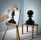 Leadership Vision. Business concept as a chess game pawn being interpreted by a painter who is painting it as a king piece representing potential and motivation vector illustration