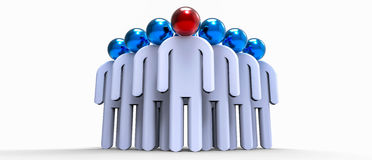 Leadership. White figures around of one color figure symbolize LEADERSHIP Stock Photography