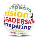 LEADERSHIP. Wordcloud as shinny, glowing SPHERE, new top trend Stock Images