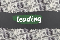Leading against digitally generated sheet of dollar bills Royalty Free Stock Photos