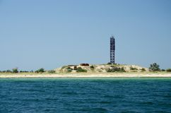 Leading beacon - nautical sign on the shore of Tendra island Royalty Free Stock Photography