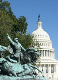 Leading the charge. A statue of a Union calvary charge in front of the US Capitol Royalty Free Stock Image