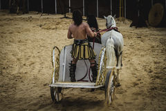 Leading, chariot race in a Roman circus, gladiators and slaves f Stock Images