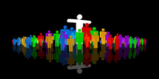 Leading a community. Male pictograms with several colors, one with arms spread Stock Photography