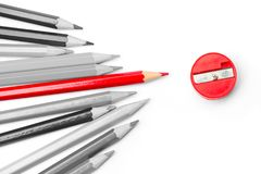 Leading competition other for Business personal outstanding. Red pencil place leading competition other for Business personal outstanding concept Stock Photo