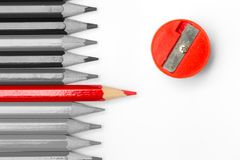 Leading competition other for Business personal outstanding. Red pencil place leading competition other for Business personal outstanding concept Stock Image