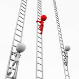 Leading contestant. Climbing the ladder on white background white other two lag behind, concept of growth and promotion competition Royalty Free Stock Photos