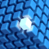Leading Cube. 3D rendered illustration of cubic diagrammatic structure made up of blue cubes including a unique, leading, glowing cube