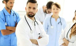 Leading doctor of the medical center peers. Royalty Free Stock Image