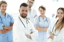 Leading doctor of the medical center peers. Stock Photos