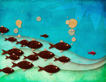 The leading fish. A colorful textured illustration of a leading fish and its followers under beautiful blue waters, leadership concept Royalty Free Stock Photo