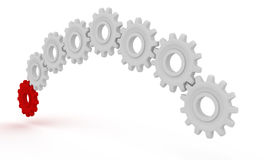 Leading gear. Red gear is leading white pinions. 3D render Royalty Free Stock Photo