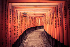 A Leading Line Through Kyoto Gates. A pathway leads the way through the historical Kyoto Gates in Japan Royalty Free Stock Photos