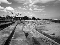 Leading lines at the artificial shoreline of Mekong, Laos, Vientiane. Concrete riverbank of Mekong in Vientiane, Laos Stock Photography