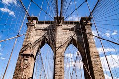 Leading Lines of the Brooklyn Bridge stock photography