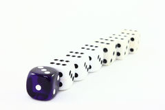 Leading The Pack -Dice. A row of six white dice being lead by one purple die Royalty Free Stock Photos