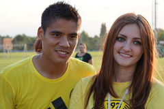 Leading players of FC Kuban Lorenzo Melgarejo with a pretty fan team open training session Stock Photography