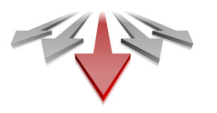 Leading Red Arrow. Illustration of arrows with a red arrow in the lead, symbol for progress and success Stock Image