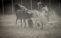 Leading, Roman chariot in a fight of gladiators, bloody circus Stock Photos