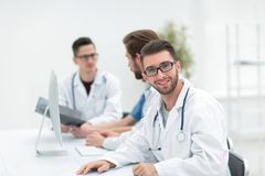 Leading specialist therapist on the background of the office. Photo with copy space Royalty Free Stock Photo