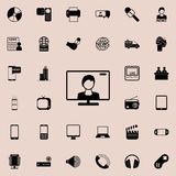 Leading on the TV screen icon. Detailed set of minimalistic icons. Premium graphic design. One of the collection icons for website. S, web design, mobile app on Royalty Free Stock Image