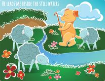 He leads me beside the still waters illustration sheeps d