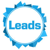 Leads Random Shapes Blue Circle. Leads text written over blue background Royalty Free Stock Photo
