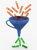 Leads sales funnel. Funnel with leads pouring in and sales coming out at the end. sales and marketing conversion concept royalty free illustration