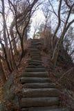 Precarious and narrow climb royalty free stock photo