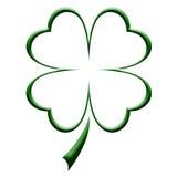 leaföversikt för växt av släkten Trifolium fyra Arkivbilder