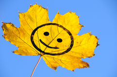 Leaf. Smile painted on an autumn leaf in his hand, raised to the sky Stock Image