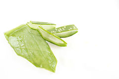 Leaf of aloe vera and segments. royalty free stock photos