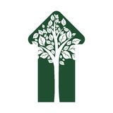 Leaf arrow plant green nature ecology icon. Vector graphic Stock Photo