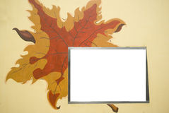 Leaf background. It is a leaf background with white board to let you write text there Royalty Free Stock Photography
